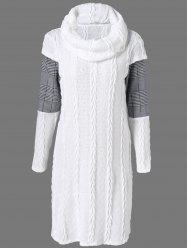Plaid Cowl Neck Jumper Dress - WHITE