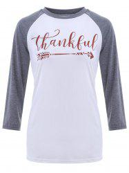 Crew Neck Thankful Graphic Baseball T-Shirt -