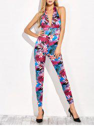 Floral Backless Summer Halter Jumpsuit