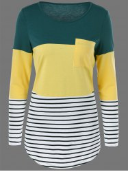 Color Block Striped Longline T-Shirt - GREEN AND YELLOW XL