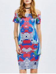 Printed Bodycon Off The Shoulder Dress -