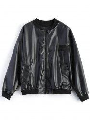 Plus Size Stand Collar Biker Jacket - BLACK