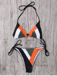 Halter String Color Block Bikini Set