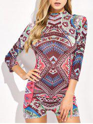 Tribal Totem Printed Mock Neck Swimwear