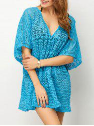 Low Cut Openwork Dressy Tunic Cover Up - LAKE BLUE