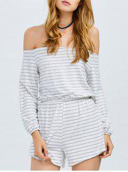 Off Shoulder Long Sleeve Striped Romper