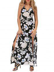 Floral Bohemian Backless Slit Long Beach Dress
