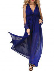 High Slit Low Cut  Maxi Chiffon Dress -