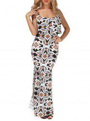 Printed Slit Long Cami Bodycon Overlay Dress