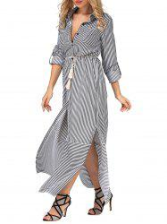 Belted Long Sleeve Striped Slit Shirt Maxi Dress