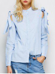 Button Up Striped Bowknot Shirt -