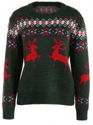 Crew Collar Christmas Sweater With Reindeer Graphic -