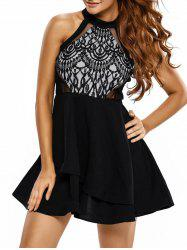 Lace Panel Racerback Short Formal Prom Dress - BLACK