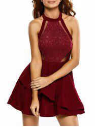 Lace Panel Flounce Mini Skater Cocktail Dress - RED L