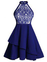 Lace Panel Flounce Skater Cocktail Dress - BLUE