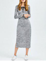 Lace Up Side Cut Hooded Dress -