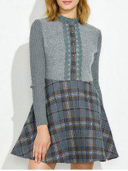 Plaid Insert Knit Fit and Flare Dress -
