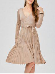 Plunging Neck Long Sleeve Jersey Low Cut Skater Sweater Dress -