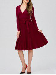 Plunging Neck Long Sleeve Jersey Skater Sweater Dress