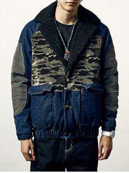 Camo Insert Faux Fur Trim Denim Jacket - CERULEAN