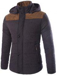 Two Tone Zippered Hooded Padded Jacket