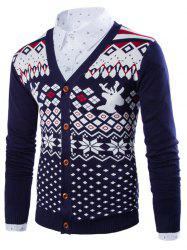 Deer Snowflake V Neck Christmas Cardigan