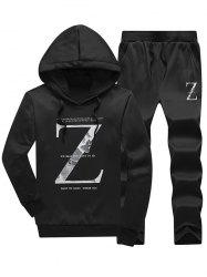 Letter Pullover Hoodie and Drawstring Pants Twinset - BLACK XL