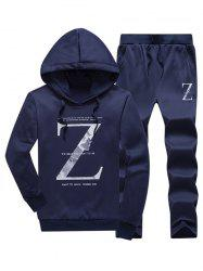 Letter Pullover Hoodie and Drawstring Pants Twinset