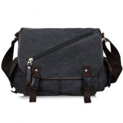 PU Leather Insert Pockets Zipper Messenger Bag