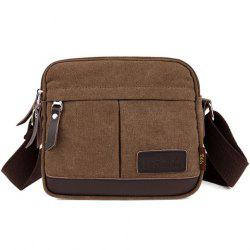 Zippers PU Leather Canvas Crossbody Bag