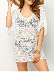Low Back Mesh Bathing Suit Cover-Up - WHITE