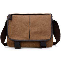 Zipper Canvas PU Leather Insert Messenger Bag