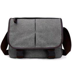 Zipper Canvas PU Leather Insert Messenger Bag - GRAY