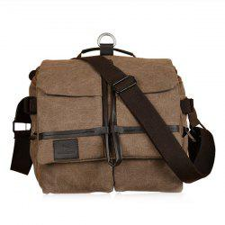 Pockets Canvas PU Leather Insert Crossbody Bag