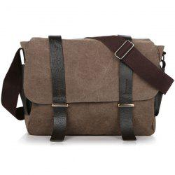 Metal Double Pocket Canvas Messenger Bag