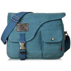 Pocket Canvas Metal Messenger Bag