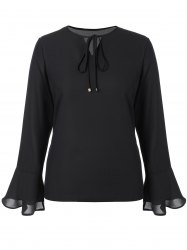 Plus Size Tie Front Chiffon Flare Sleeve Blouse