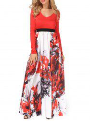 V Neck Long Sleeve Floral Maxi Dress - RED