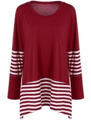 Plus Size Striped Panel T-Shirt - RED WITH WHITE 4XL