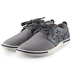 HLA PU Splice Paisley Printed Casual Shoes for Men - GRAY 41