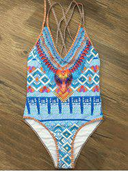 Printed Criss Cross Strappy One Piece Swimwear