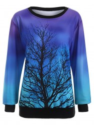 Sweat-shirt de couleur ombre à motif d'arbre - Bleu XL