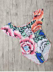 Square Neck Floral Print One Piece Swimsuit - FLORAL