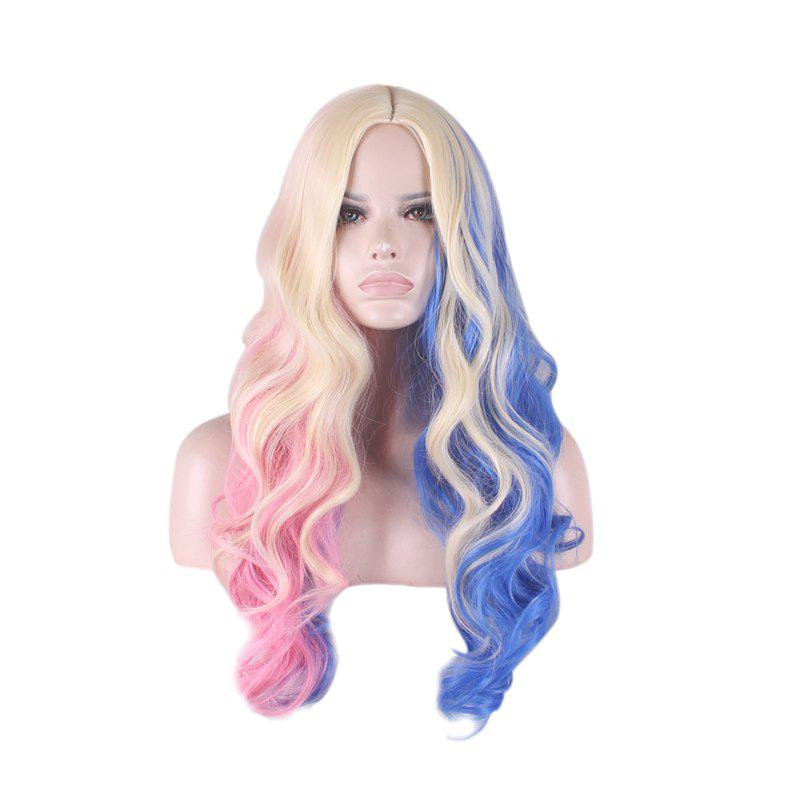 Affordable Colored Long Middle Part Wavy Harleen Quinzel Cosplay Synthetic Wig