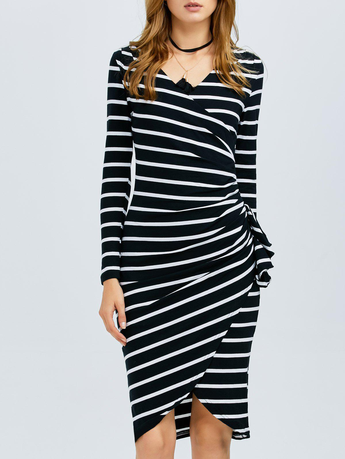 Store Striped Long Sleeve Knee Length Tight Dress