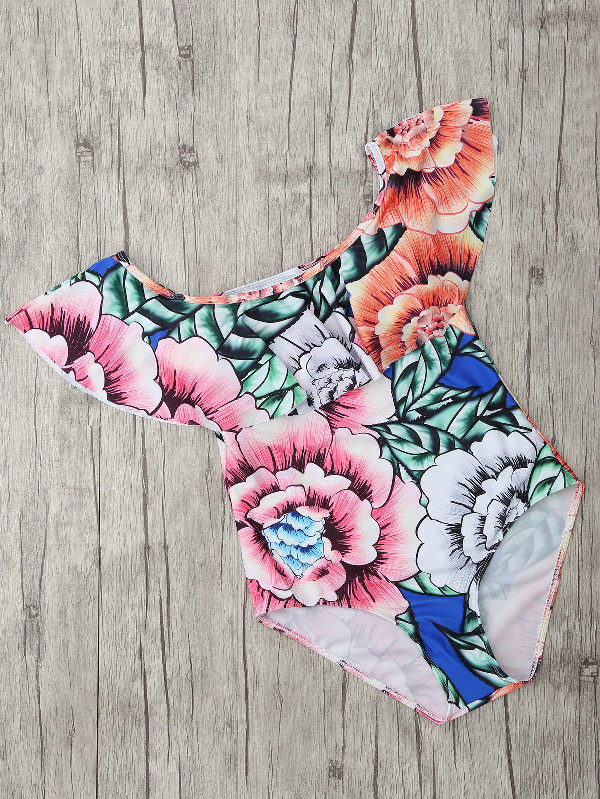 Trendy Square Neck Flral Print  Swimsuit