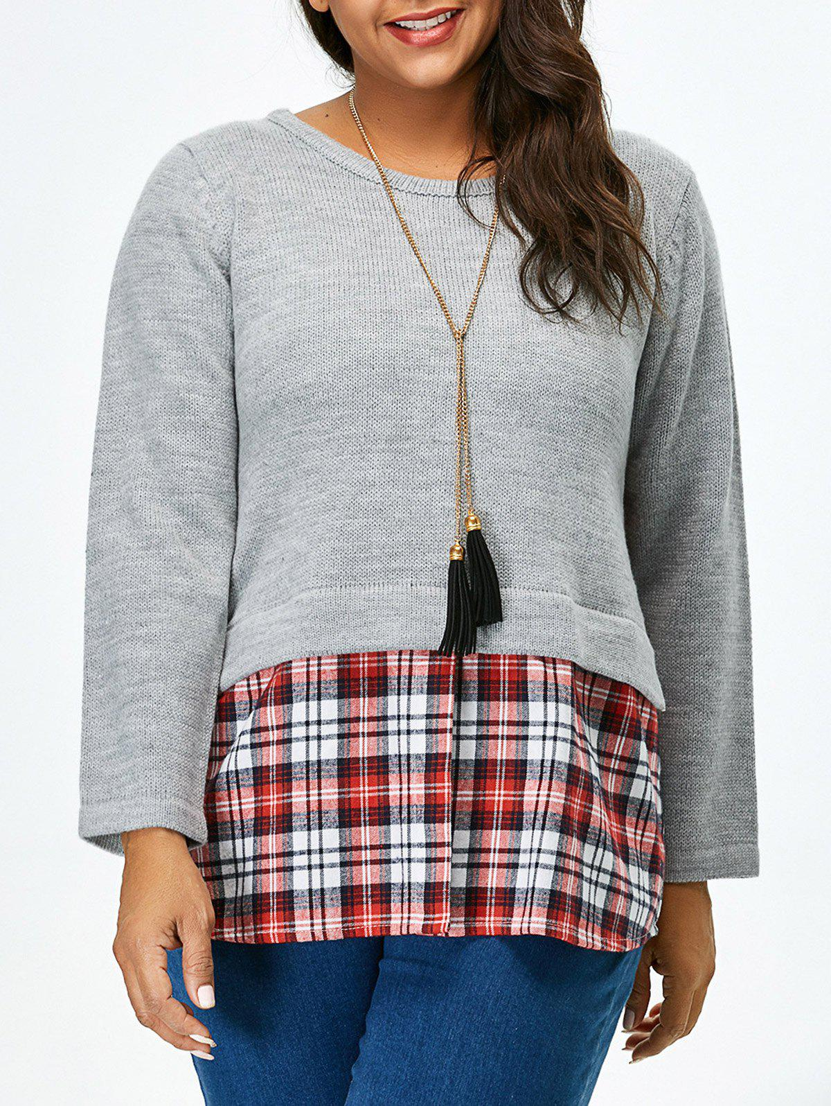 Online Plus Size Long Sleeve Plaid Insert Sweater