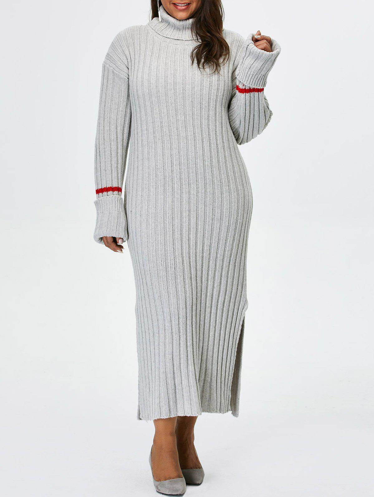 2018 Plus Size Turtleneck High Slit Maxi Sweater Dress In Gray 3xl