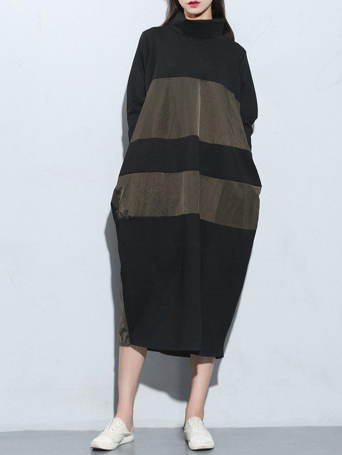 Cheap Color Block Oversized Midi Dress