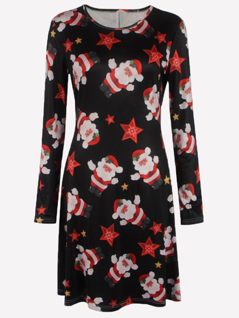 Plus Size Long Sleeves Christmas Santa Skater DressWOMEN<br><br>Size: 4XL; Color: BLACK; Style: Cute; Material: Cotton Blend,Polyester; Silhouette: A-Line; Dresses Length: Knee-Length; Neckline: Round Collar; Sleeve Length: Long Sleeves; Pattern Type: Print; With Belt: No; Season: Fall,Spring; Weight: 0.320kg; Package Contents: 1 x Dress;